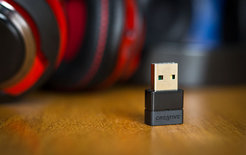The Creative BT-W2 USB bluetooth adapter for low latency Bluetooth streaming