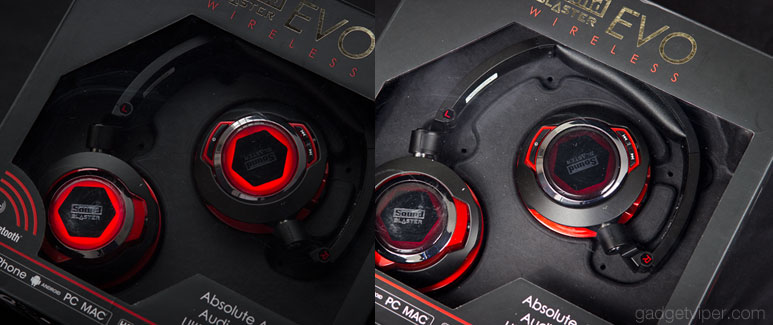 A comparrision of the LED lighting on the Sound Blaster EVO wireless headphones