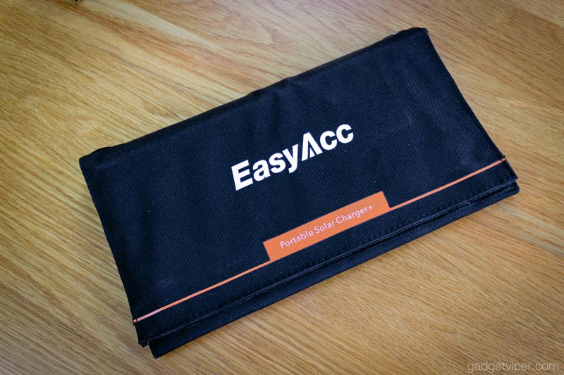 The EasyAcc 28W portable solar charger folded up for storage