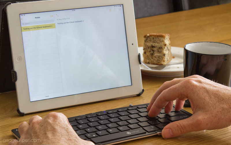 Typing on the iClever full size foldable keyboard