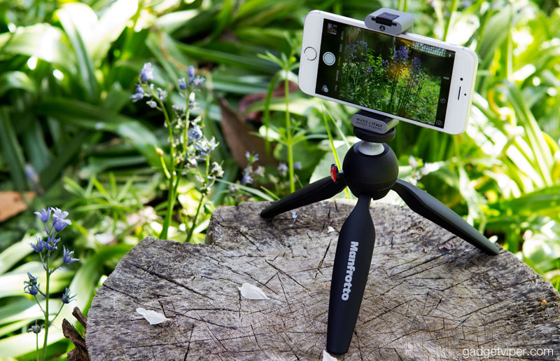 The Manfrotto Twistgrip iPhone mount attached to a tripod