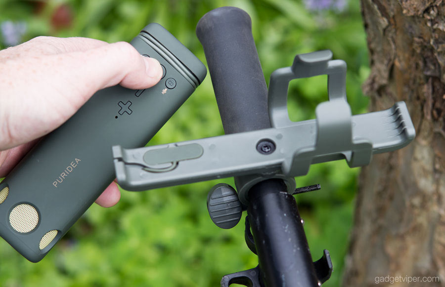 The port protection on the PURIDEA i2 bluetooth bike speaker is found on the mounting bracket.