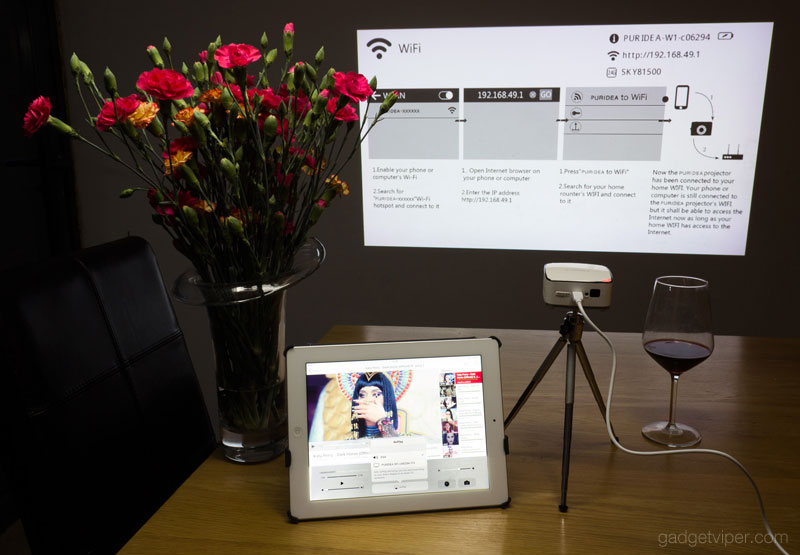 Using Apple Airplay to cast YouTube for an iPad to the PURIDEA portable wireless projector