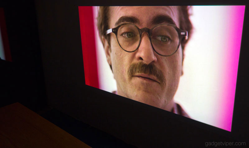 The projected image from the PURIDEA portable Wireless Mini projector at almost 90 Inches across