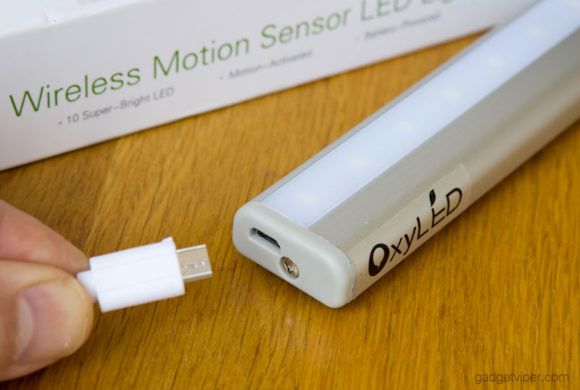 Recharging the OxyLED Wireless LED motion sensor light