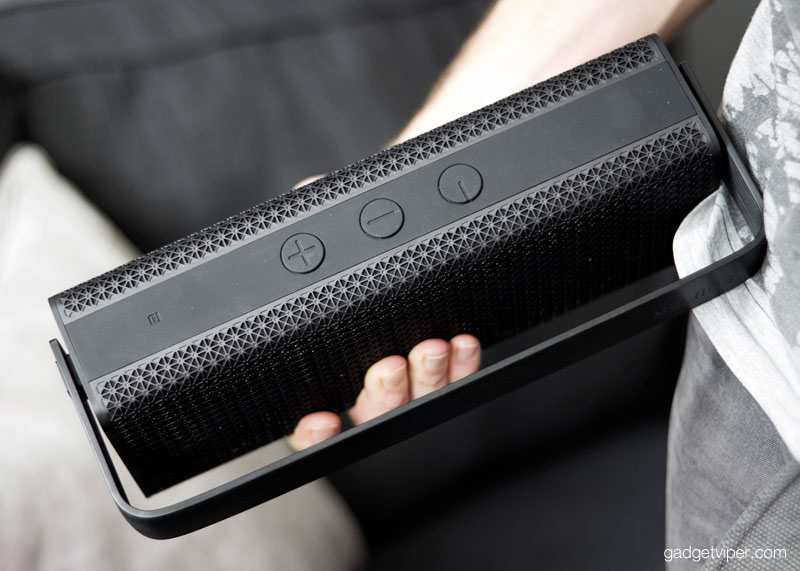 The Edifier MP700 portable bluetooth speaker has a chunky handle that rotates 90 degrees