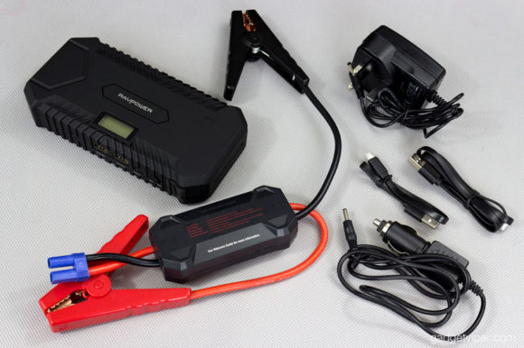 The included accessories that come with the RAVPower portable jump starter