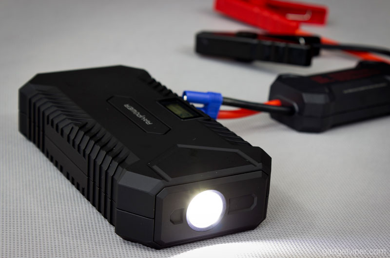 The LED flashlight on the RAVPower RP-PB048 portable jump starter