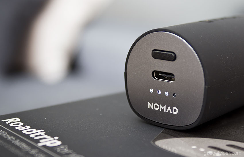 The type-C USB charging port on the Nomad Roadtrip car charger