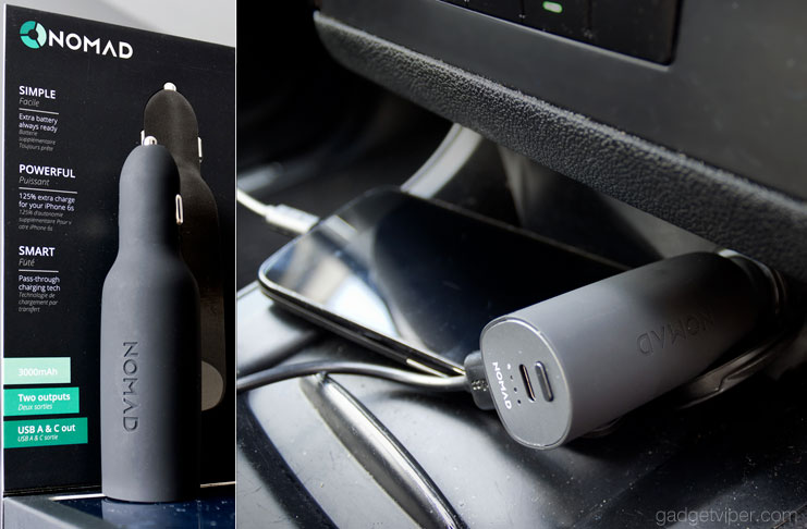 The Nomad Roadtrip review - A Type A and Type C USB car charger with an intergrated 3000mAh portable power bank