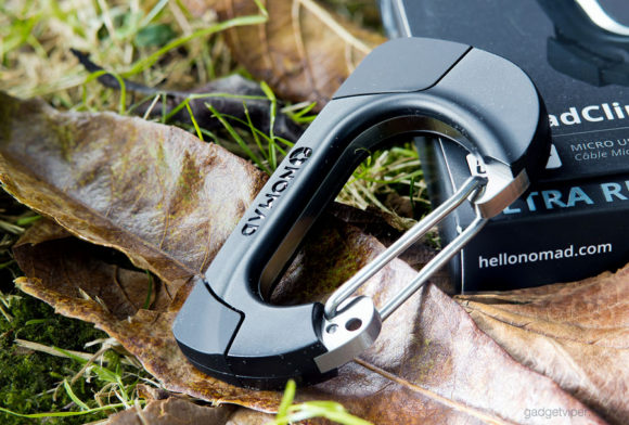 The NomadClip USB carabiner with it's intergrated charging cables hidden inside the body