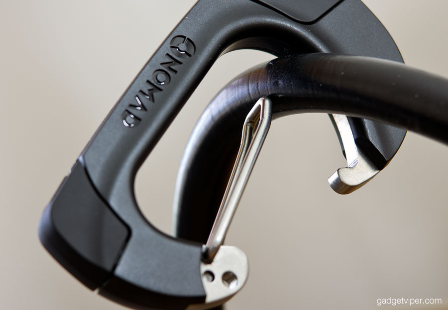 The NomadClip carabiner clips to items 12mm in width