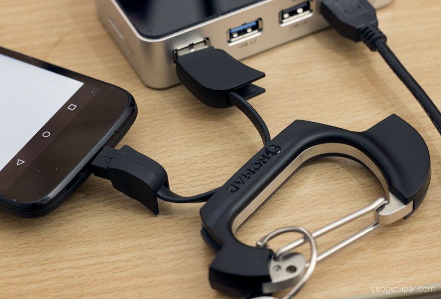 Nomadclip Usb Carabiner With Integrated Charge And Sync