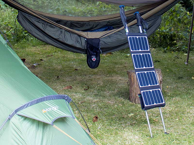 Orientating the RAVPower solar panels with the pouch folded up