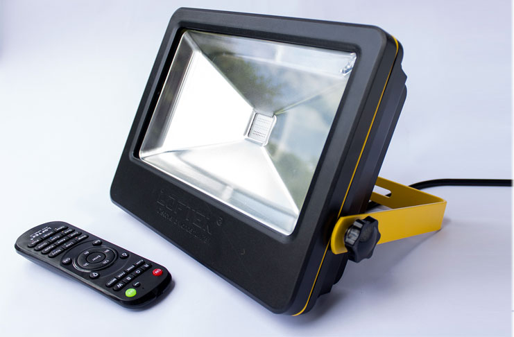 Loftek 50w led floodlight remote controlled led outdoor flood light for Remote control exterior lights