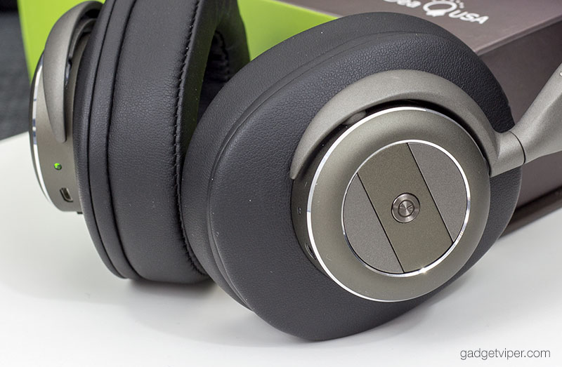 A view of the manual controls on the side of the AtomicX Wireless headphones