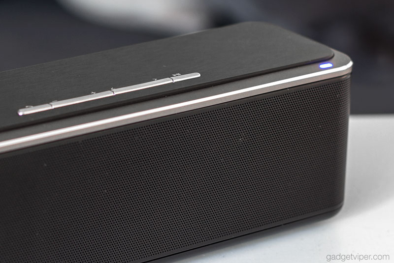 BlitzWolf Bluetooth speaker body with its fine metal grill that protects the speaker drivers