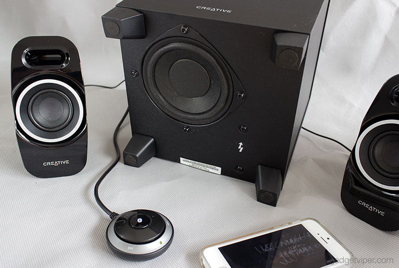creative computer speakers. the creative t3250 wireless system comprises of two satellite speakers, a downward facing subwoofer and control pod for on/off, volume bluetooth computer speakers