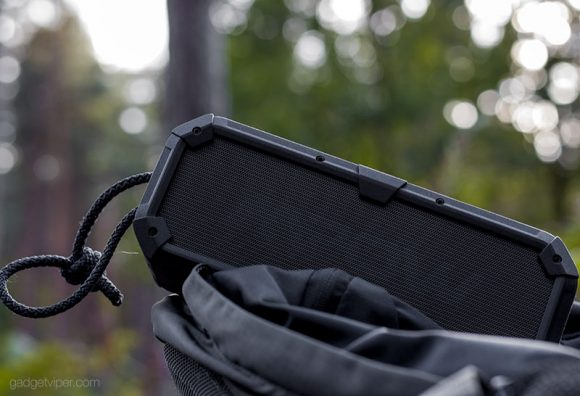 The durable casing on the MPOW Armor Plus Bluetooth Speaker