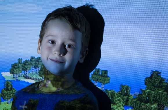 Joshua in Zombie mode after playing minecraft all day using the Mpow Mini projector