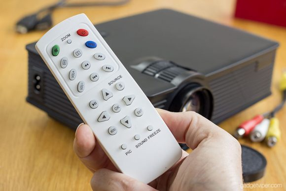 The remote that comes with the MPow LED mini home theatre projector