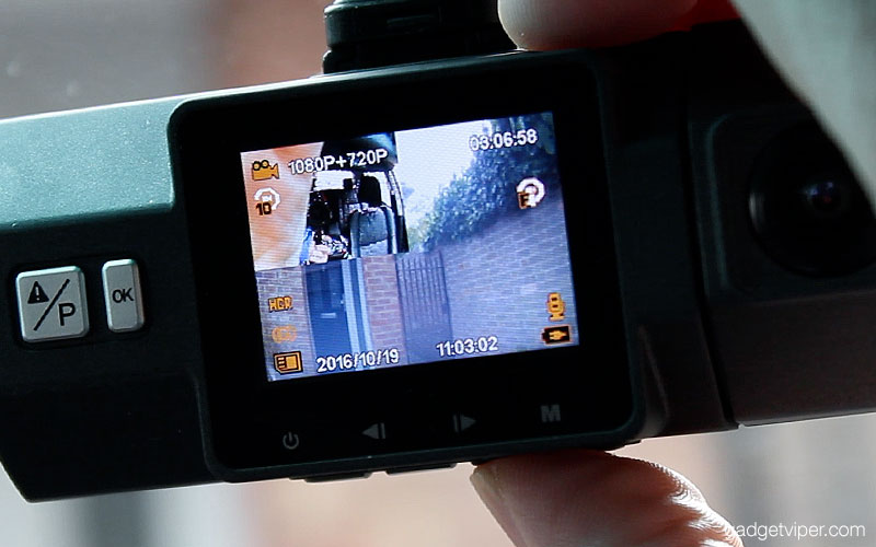 The display on the VanTrue N2 Dashcam