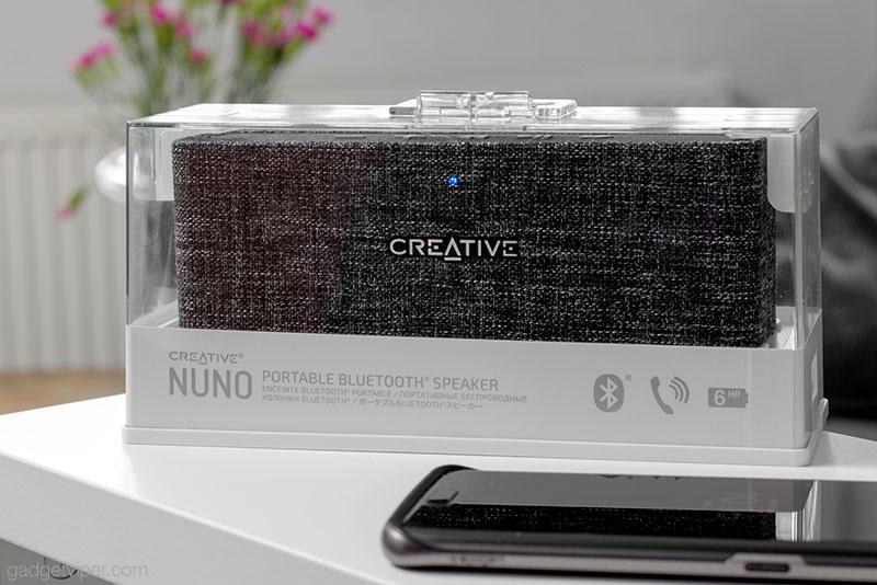 The Creative NUNO inside its box