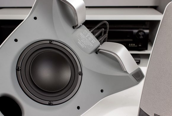 A view of the Subwoofer from underneath on the Edifier Prisma Encore speakers