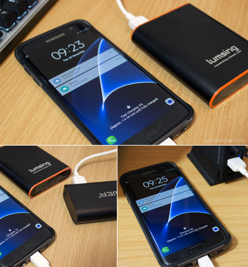 Testing the Quick charge 3.0 power bank on my Galaxy S7 Edge