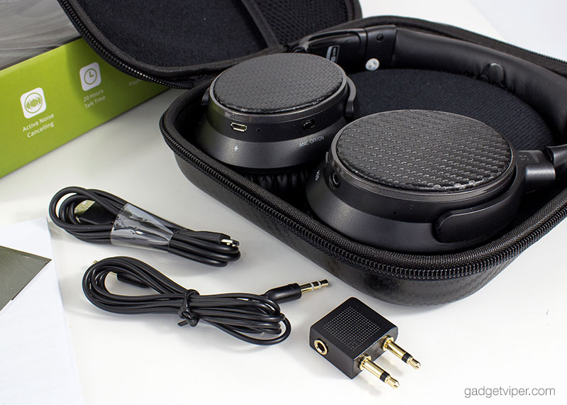 The IdeaUSA AtomicX V201 Bluetooth Headphones inside the carry case