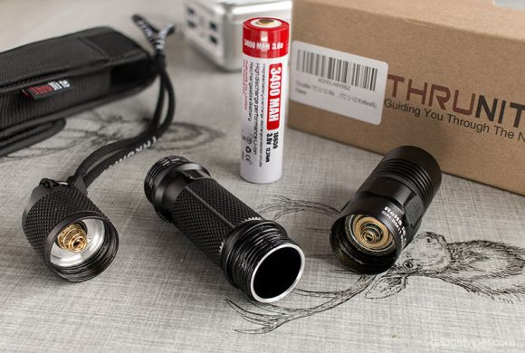 The TC12-V2 Thrunite EDC torch with its individual parts