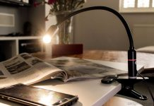 The Aglaia clamp light with an adjustable gooseneck and an energy efficient mains powered 4W dimmable LED light