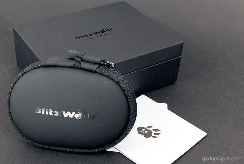 Here's a shot of the box and carry case that the BlitzWolf dual driver earphones come in.