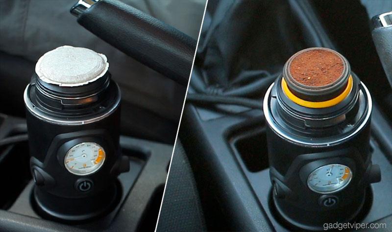 Using either the E.S.E espresso pods or ground coffee with the Handpresso Auto