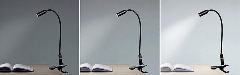 3 light modes on the Aglaia LED clamp light