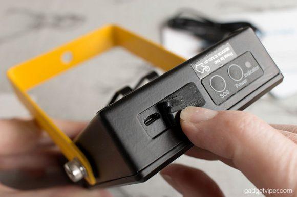 Well protected USB charging ports on the 15W Loftek portable flood light