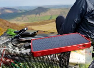 OutXE power bank with a super bright 32 LED light panel and solar charging