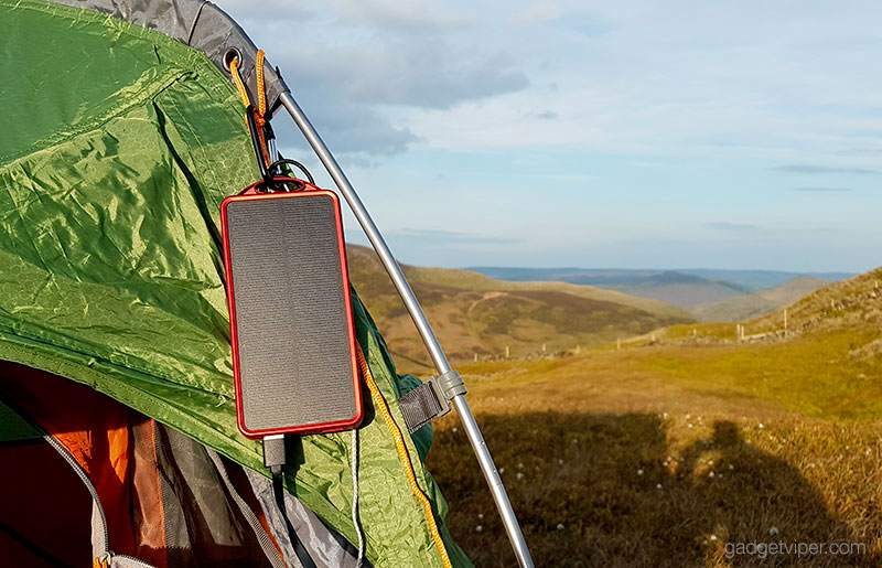 Solar charging the OutXE power bank