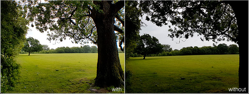 Comparing a scenic shot taken with the Aukey smartphone camera lens to a shot taken with the S7 Edge