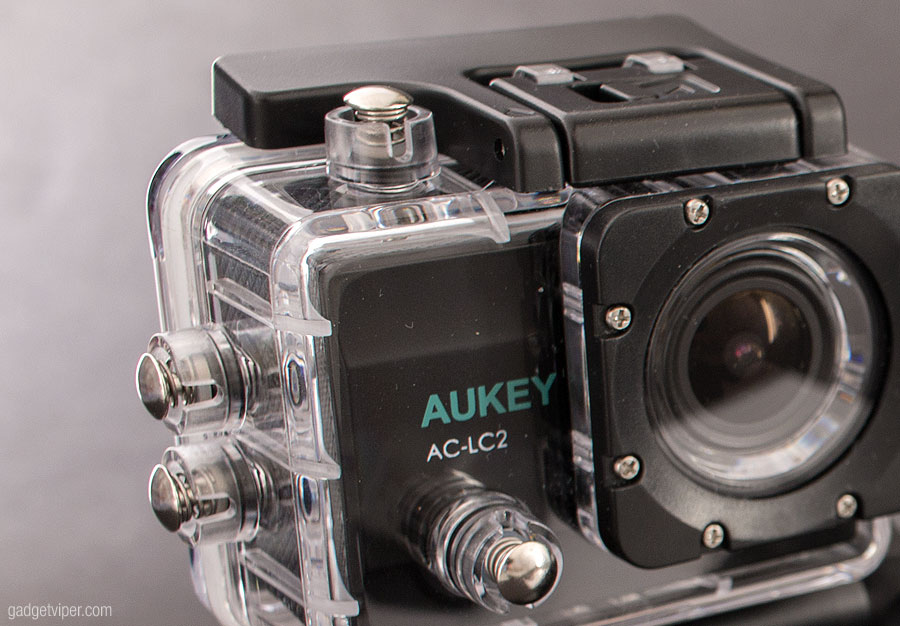 The underwater housing on the Aukey Action Camera