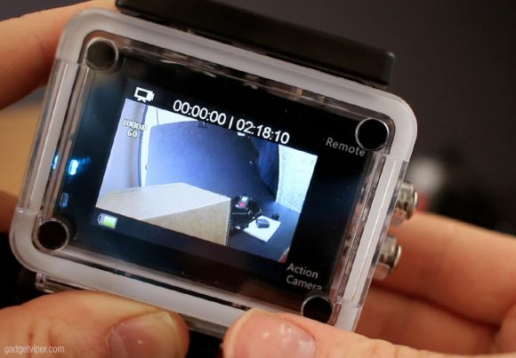 The display screen on the Aukey Action Camera