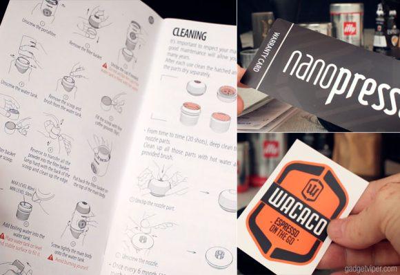 The accessories that come with the Nanopresso Portable Espresso Maker