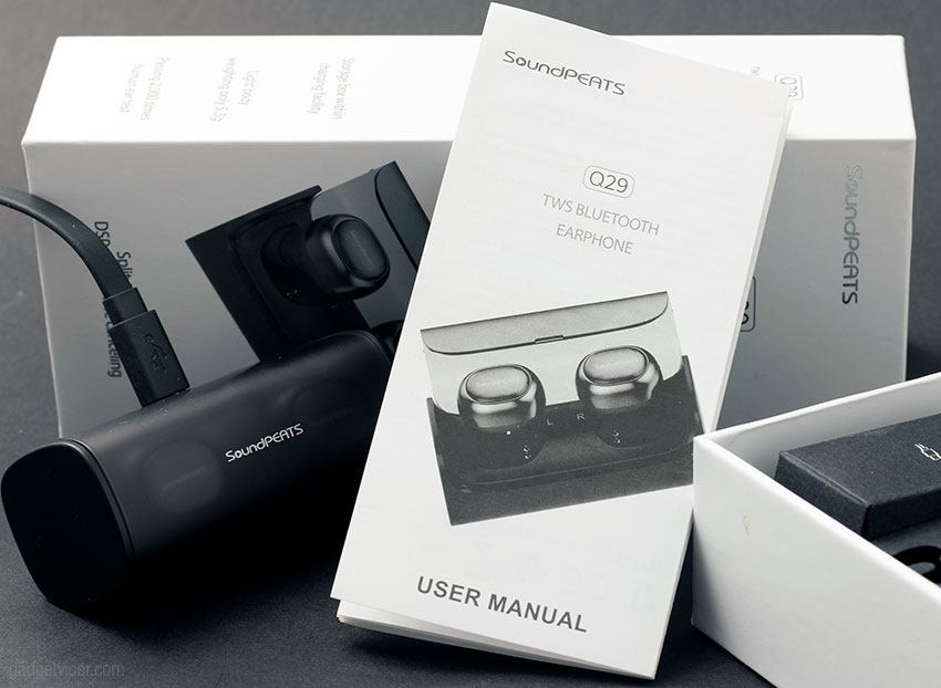 The user guide for the SoundPeats Q29 Bluetooth earphones