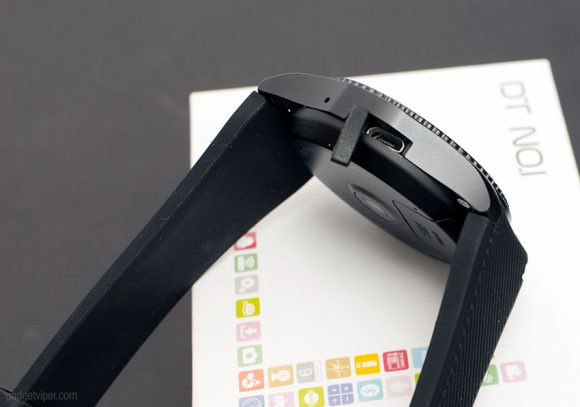 The Micro USB charging port on the G8 Smart Watch