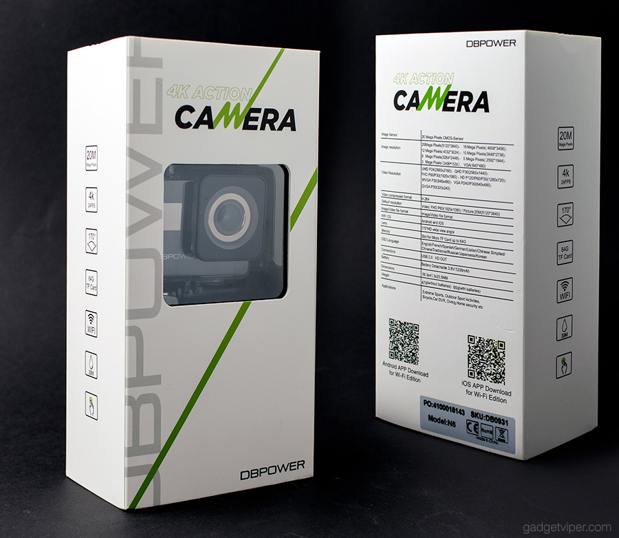 The DBPower N7 action camera inside the retail box
