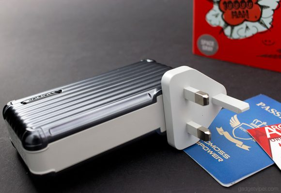 A power bank with an integrated 3-pin UK adapter