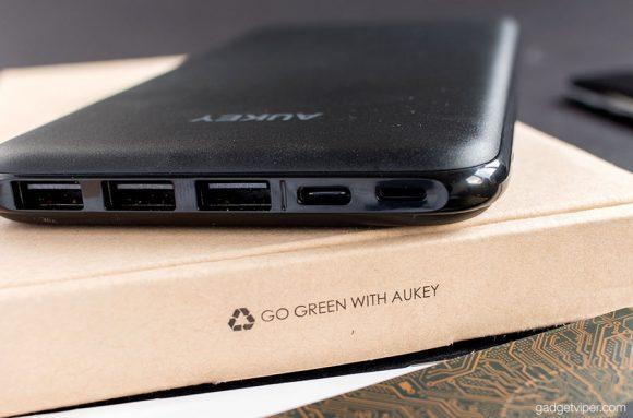 The USB ports on the Aukey Ultra Slim 20000mAh power bank