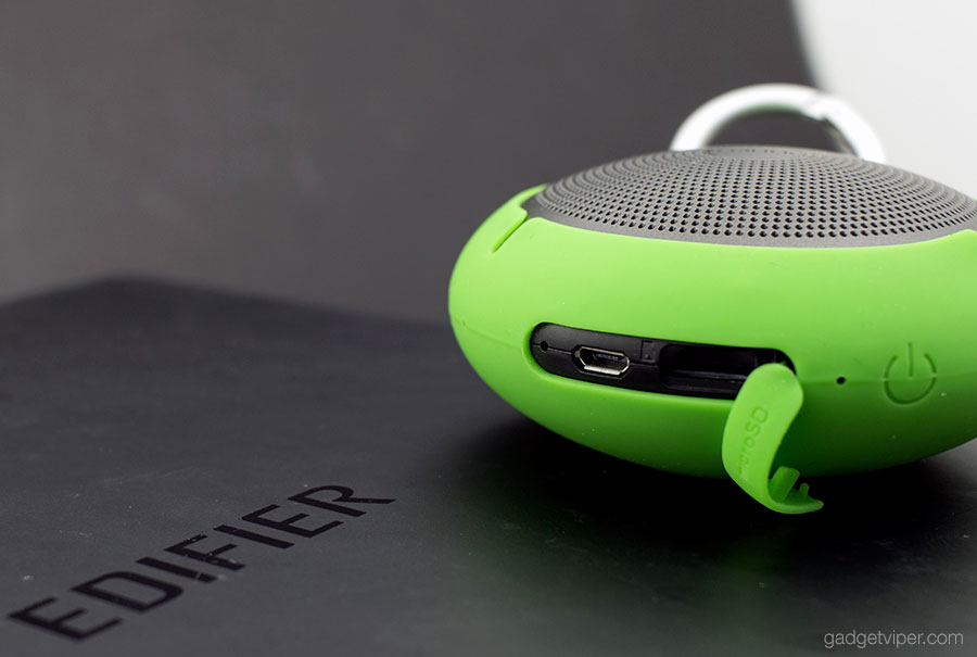 The port cover on the Edifier MP100 bluetooth speaker