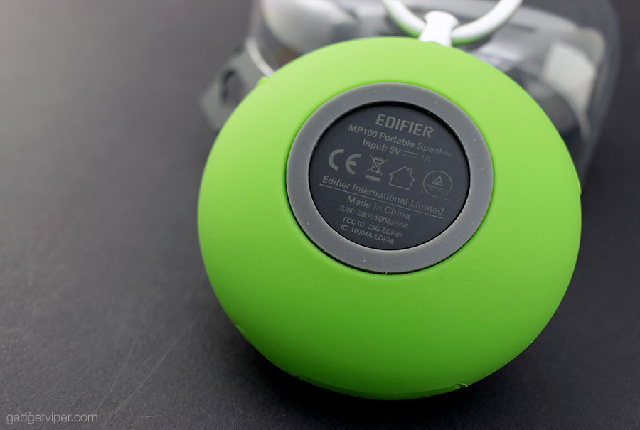 The rear of the Edifier MP100 portable Bluetooth speaker