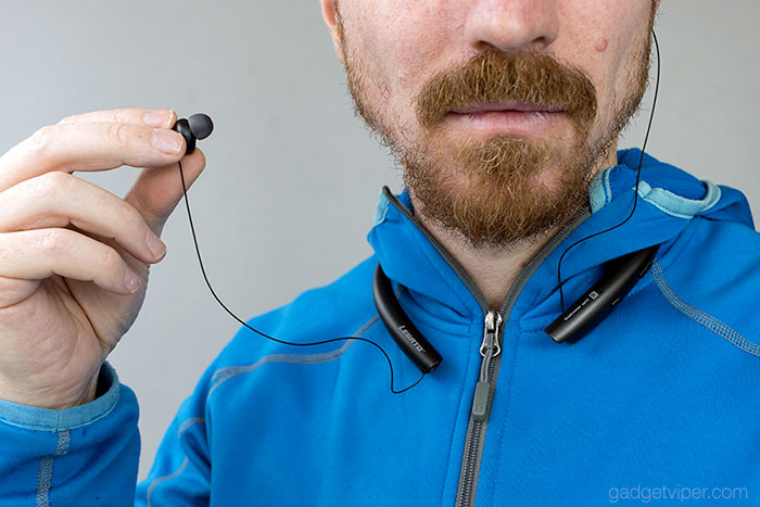 The amazingly thin cable of the Legato Arc Bluetooth neckband headphones